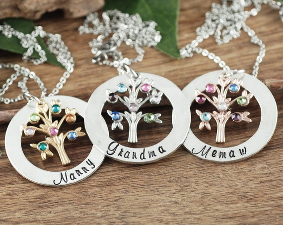 Grandmother Birthstone Necklace, Family Tree Necklace for Grandma, Grandma Necklace, Birthstone Necklace, Gift for Grandma, Mothers Day Gift