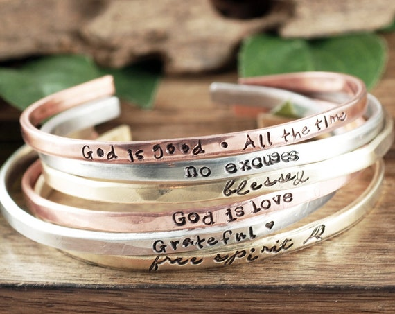 Inspirational Cuff Bracelets, Faith Jewelry, Encouragement Gift, Custom Cuff Bracelet, Girlfriend Gift for Her, Bracelet for Women