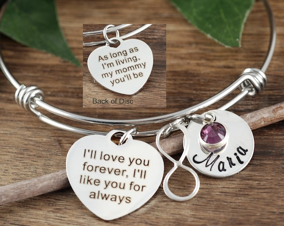 Bridesmaid Gift, Mother of Bride Jewelry, I'll love you forever, Mom Bracelet, Mother's Bangle Bracelet, Gift For Mom, Mother's Day Gift