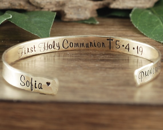 First Holy Communion Gift, Bible Verse Jewelry, Personalized Communion Bracelet, Custom Cuff Bracelet, Confirmation Bracelet, Religious Gift