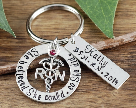 She Believed She Could RN Keychain, Personalized RN GIft, BSN Graduation Gift, Graduation Gift for Nurse, Gift for Nursing Student