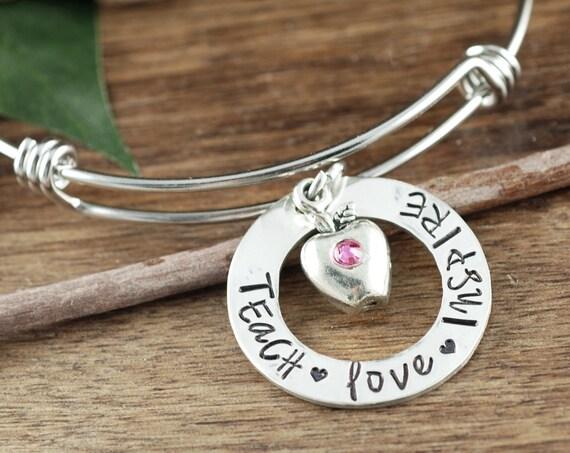 Teacher Appreciation Gift, Teacher Gift Ideas, Personalized Teacher Gift, Teach Love Inspire, Teacher Jewelry, Thank you Gift for Teacher