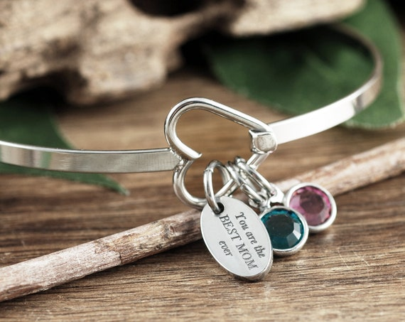 Personalized Birthstone Bracelet for Mom, Mother's Day Gift from Daughter, Dainty Birthstone Jewelry, Heart Bangle Bracelet, Gift for Mom