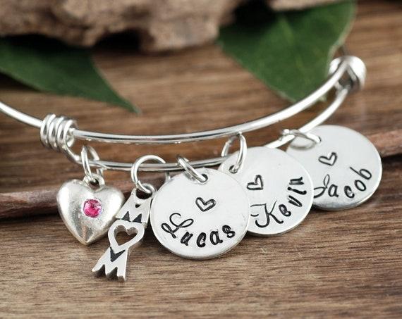 Mother's Day Bracelet, Gift for Mom, Mother's Bracelet, Personalized Mom Bracelet, Wire Bangle Bracelet, Mother's Day Gift, Name Bracelet