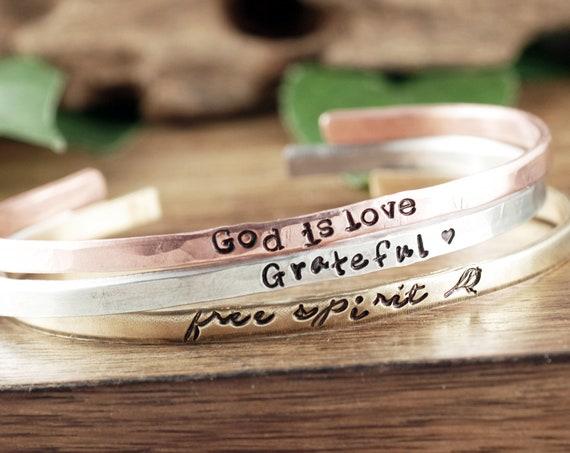 Faith Cuff Bracelets, Faith Jewelry, Encouragement Gift, Custom Cuff Bracelet, Girlfriend Gift for Her, Bracelet for Women