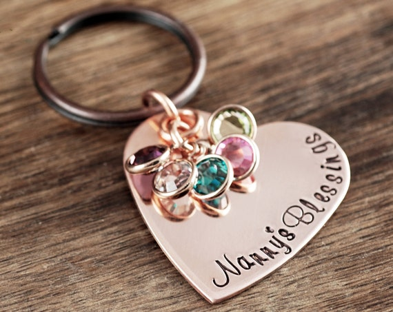 Grandma Heart Keychain, Personalized Grandma Keychain, Grandmother Gift, Personalized Birthstone Jewelry, Keychain for Nana, For Grandma