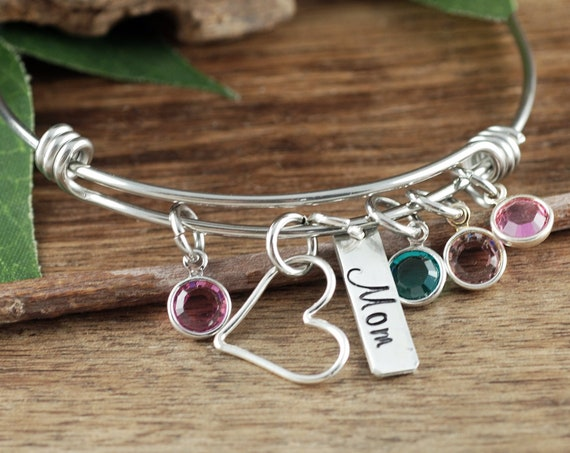 Mother's Birthstone Bracelet, Personalized Gift For Mom, Grandmother Bracelet, Heart Bracelet, Mothers Day Gift, Grandmother Bracelet