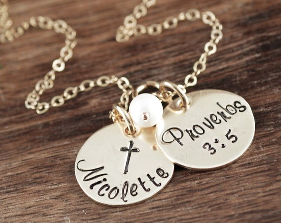 Gold Personalized Confirmation Jewelry, Confirmation Necklace, Gift for Girl, Communion Cross Pendant, Cross Necklace, Communion Gift