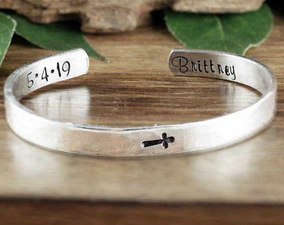 Personalized Communion Cuff Bracelet, Custom Cuff Bracelet, Confirmation Bracelet, Faith Gift, Religious Jewelry, First Holy Communion GIft