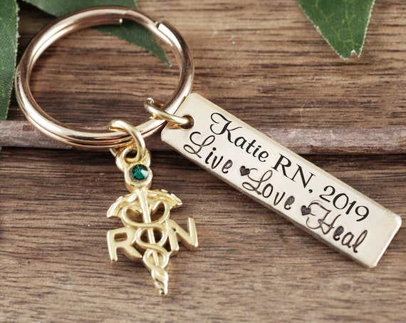 Personalized RN Keychain, Custom RN GIft, BSN Graduation Gift, Live Love Heal Keychain, Graduation Gift for Nurse, Gift for Nursing Student