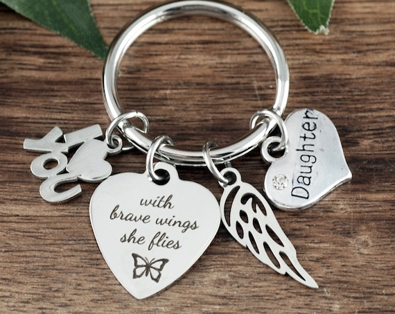 Graduation Keychain, With brave wings she flies, Angel Wing Keychain, Graduation gift for her, GIft for Daughter, Daughters Graduation