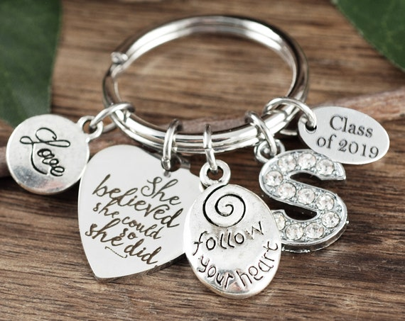 2019 Graduation Gift, She Believed She could so She Did, Graduation Keychain, Graduation gift for her, College Graduation Gift