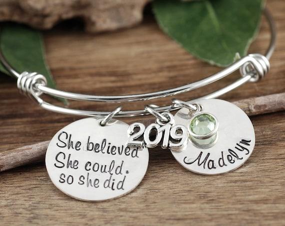 Personalized 2019 Graduation Bracelet, She believed she Could so she Did, Graduation Bracelet, Gift for Graduate, College Graduation Gift