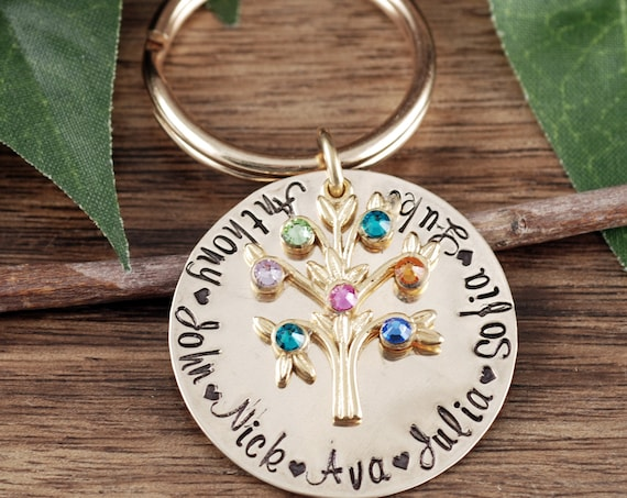 Family Tree Keychain for Grandma, Birthstone Keychain, Grandmother Birthstone Keychain, Grandma Keychain, Gift for Grandma, Mothers Day Gift