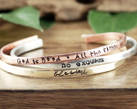Encouragement Gift, Faith Cuff Bracelets, Faith Jewelry, Custom Cuff Bracelet, Girlfriend Gift for Her, Bracelet for Women