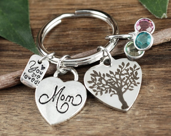 Personalized Mom Keychain, Birthstone Keychains for Mom, Gift for Mom, Family Tree Keychain, Mother's Keychain, Keychain Gift for Mom