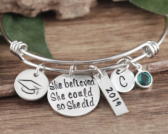 Graduation Bracelet, Silver Graduation Jewelry, She Believed She Could so She Did, Graduation Gift, Gifts for Graduate, High School Graduate
