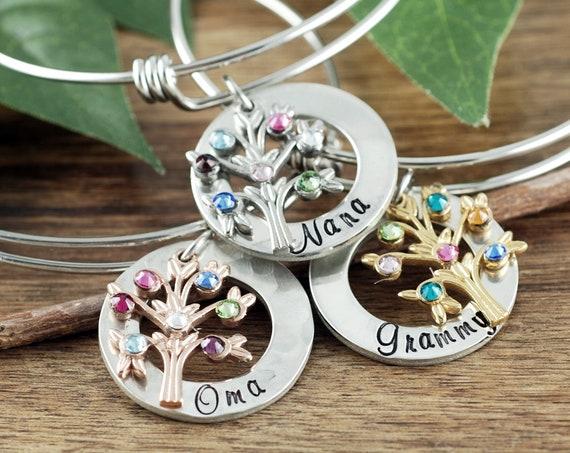 Grandmother Birthstone Bracelet, Family Tree Bracelet for Grandma, Grandma Bracelet, Birthstone Bracelet, Gift for Grandma, Mothers Day Gift