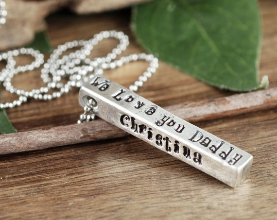 Father's Day Gift for Him, Personalized Men's Necklace, 4 Sided Bar Necklace, Men's Bar Necklace, Birthday Gift for Dad, Gift for Men