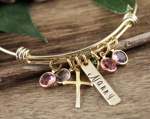 Mother's Day Gift, Personalized Jewelry, Silver Cross Charm Bracelet, Mom Birthstone Bracelet, Cross Bangle Bracelet, Religious Bracelet