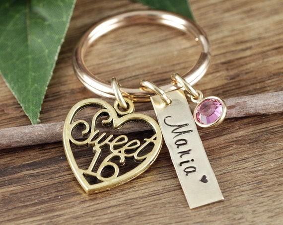 Gold Personalized Sweet 16 Keychain, Sweet 16th Birthday Gifts, Sweet Sixteen Gift, Sweet 16 Gift, Sweet 16 Key Chain, Gift for Teenager