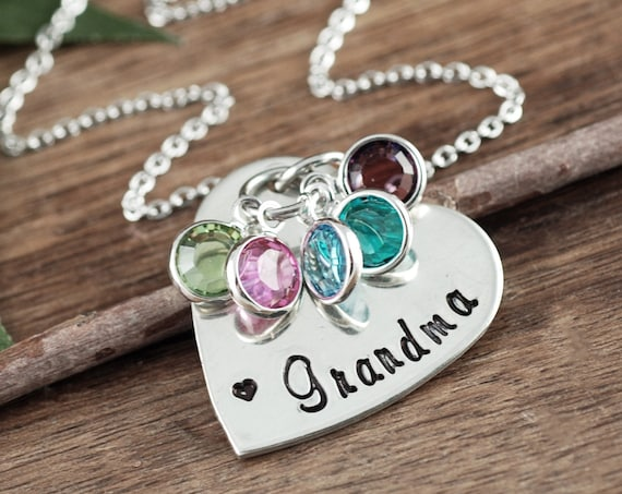 Personalized Heart Necklace for Grandma, Grandma Necklace, Grandmother Birthstone Necklace, Personalized Birthstone Jewelry, Gift for Nana