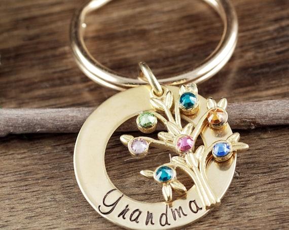 Grandmother Birthstone Keychain, Family Tree Keychain for Grandma, Grandma Keychain, Birthstone Keychain, Gift for Grandma, Mothers Day Gift