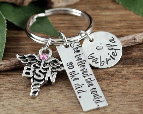 She Believed She Could Nurse Keychain, Personalized BSN Keychain, BSN Graduation Gift, Graduation Gift for Nurse, Gift for Nursing Student