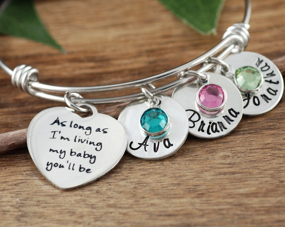 Personalized Mom Bracelet, Mother's Bangle Bracelet, Gift For Mom with Kids Names, As long as Im Living My Baby you'll Be, Mother's Day Gift