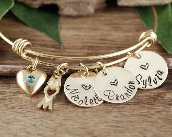 Custom Mom Bracelet, Gift for Mom, Mother's Bracelet, Personalized Mom Bracelet, Wire Bangle Bracelet, Mother's Day Gift, Name Bracelet