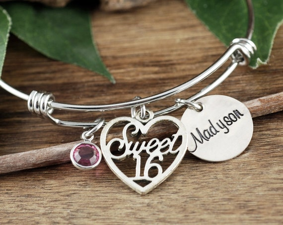 Personalized Sweet 16 Bracelet, Sweet Sixteen Gift, Sweet 16 Gift, Sweet 16th Birthday Gifts, Sweet 16 Jewelry, Gift for Teenager