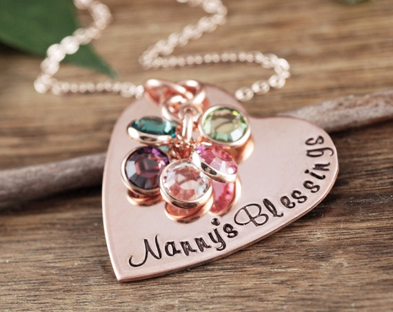 Personalized Grandma Necklace, Grandmother Necklace with Birthstones, Personalized Birthstone Jewelry, Necklace for Nana, Gift for Nanny