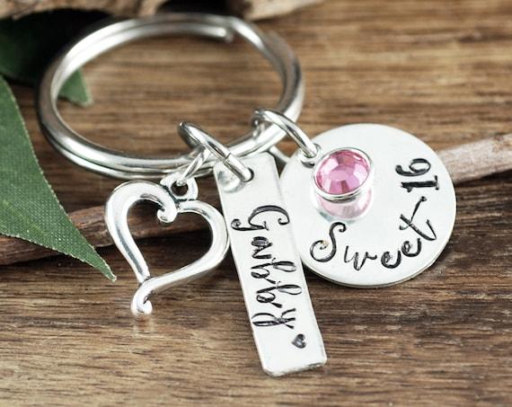 Personalized Sweet 16 Keychain, Sweet 16 Keychain, Sweet 16 Gift, Sweet 16th Birthday Gifts, Birthday Gift, Sweet 16 Key Chain