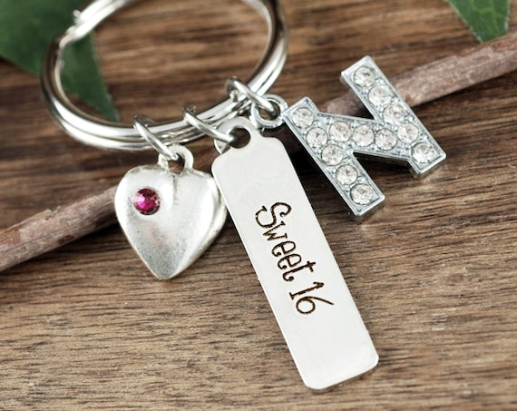 Personalized Sweet 16 Gift, Sweet Sixteen Keychain, Sweet 16 Jewelry, Gift for Daughters Sweet 16, 16th Birthday Gift, Sweet 16 Keychain