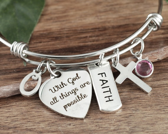 With God all things are Possible, Scripture Jewelry, Faith Bracelet, Bible Verse Bracelet, Religious Gift, Confirmation Gift, Bible Bracelet