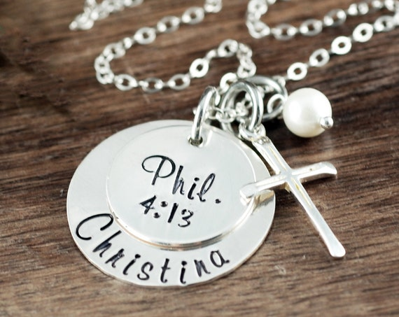 Personalized Bible Verse Necklace, Confirmation Jewelry, Gift for Girl, Communion Necklace, Silver Cross Necklace, Confirmation Gift