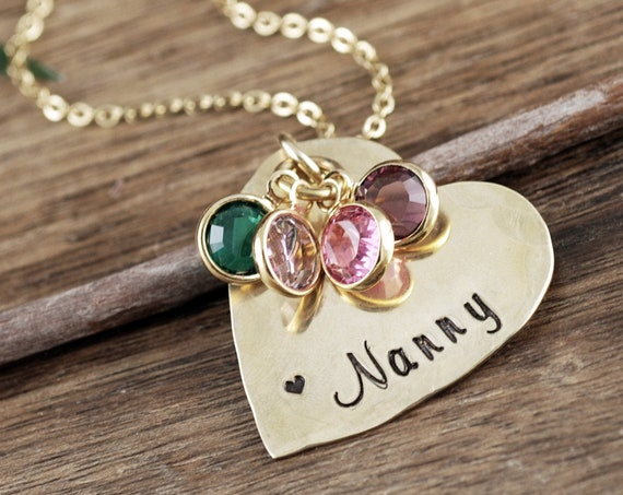 Grandmother Birthstone Necklace, Personalized Gold Heart Necklace for Grandma, Grandma Necklace, Personalized Birthstone Jewelry