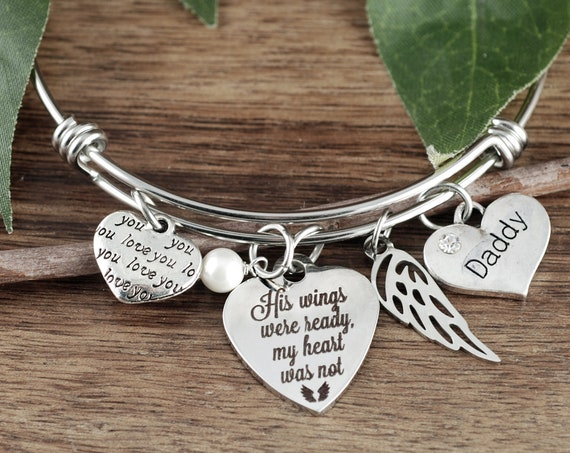 Personalized Memorial Gift, His wings were ready my heart was not, Sympathy Gift, In Memory Of,  Loss of Dad, Loss of Parent, Sympathy Gift