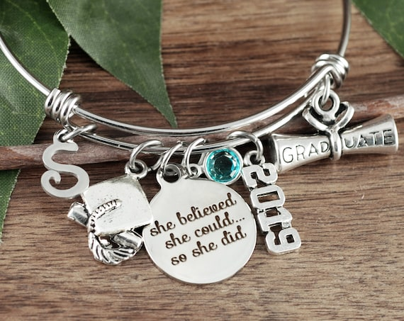 She Believed She could so She Did, Graduation Bracelet, Graduation gift for her, College Graduation Gift, 2019 Graduation Gift
