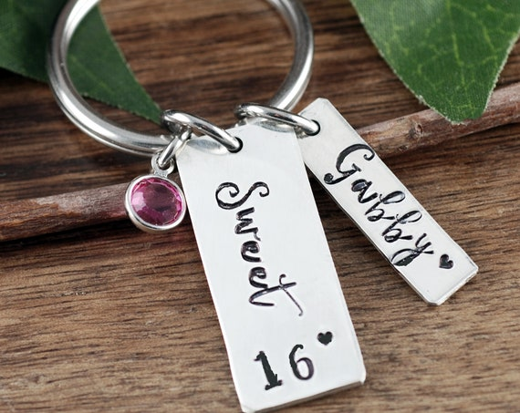 Sweet 16 Keychain, Sweet 16 Gift, Sweet 16th Birthday Gifts, Personalized Sweet 16 Keychain Birthday Gift, Sweet 16 Key Chain