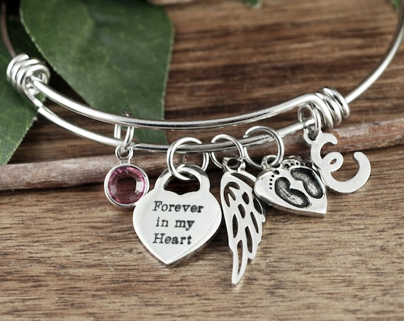 Memorial Bracelet, Miscarriage Jewelry, Forever in my Heart Bracelet, Sympathy Gift Mother, Miscarriage Gift, In Memory Of, Sympathy Gift