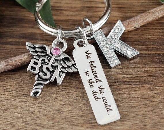 Graduation gift for Nurse, She Believed She could so She Did, BSN Nurse Graduation Keychain, College Graduation Gift,Graduation Gift for BSN
