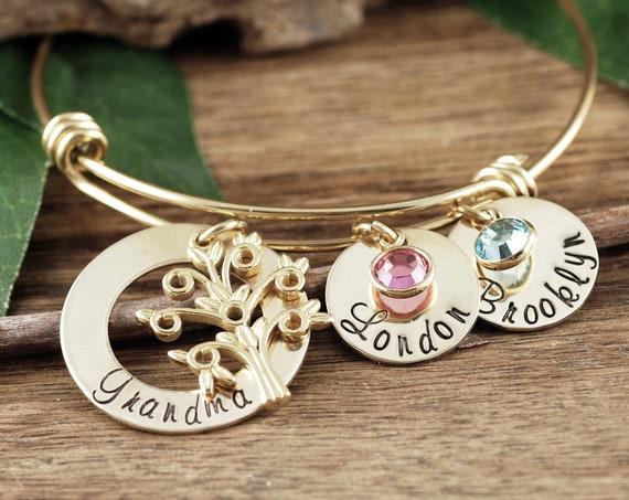 Personalized Grandmother Bracelet, Family Tree Bracelet, Mother's Day Gift, Custom Grandma Bracelet, Bracelet with Grandkids Names