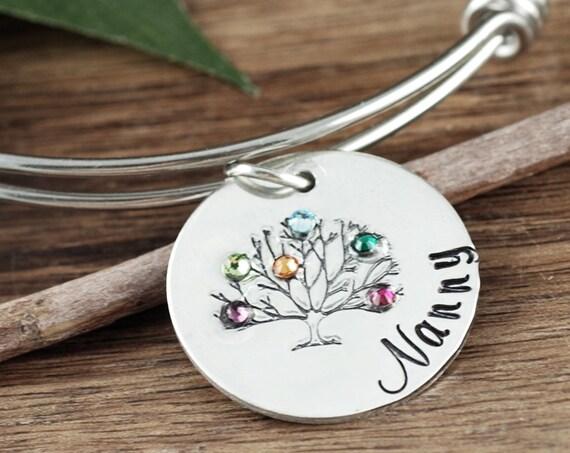 Birthstone Bracelet for Grandma, Family Tree Bracelet for Grandma, Grandma Bracelet, Charm Bracelet, Gift for Grandma, Mothers Day Gift