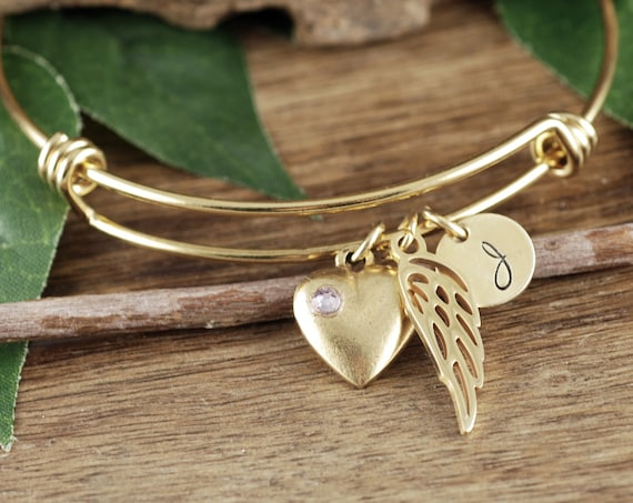 Gold Angel Wing Bracelet, Personalized Memorial Bracelet, Sympathy Bracelet, Mother's Day Gift, Memorial Jewelry, In Memory of Mom