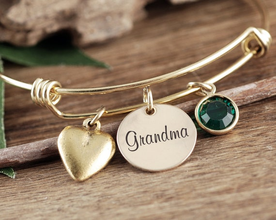 Personalized Gift For Grandma, Grandma's Birthstone Bracelet, Custom Grandma Bracelet, Heart Bracelet, Mothers Day Gift, Birthstone Bracelet