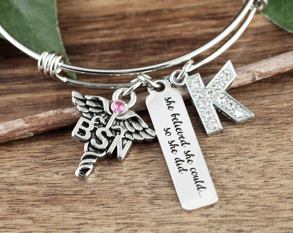BSN Nurse Graduation Bracelet, Graduation gift for Nurse, She Believed She could so She Did, College Graduation Gift,Graduation Gift for BSN