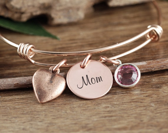 Personalized Gift For Mom, Mother's Birthstone Bracelet, Custom Mom Bracelet, Heart Bracelet, Mothers Day Gift, Birthstone Bracelet