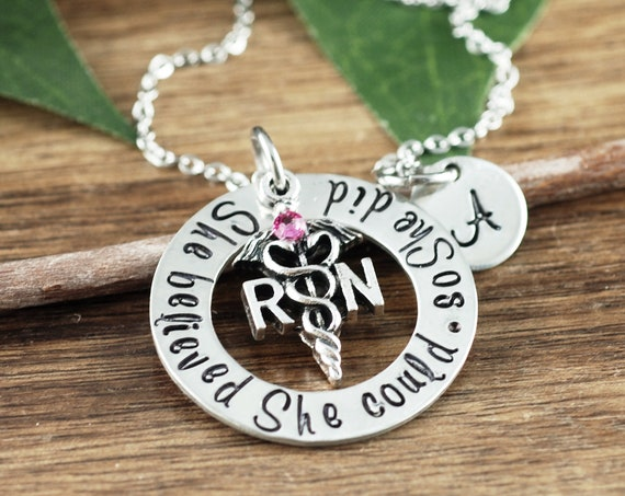 She Believed she could So she Did, Graduation Gift, Nurse Necklace, RN Graduation Gift, Personalized Gift for Nurse, Nurse Graduation