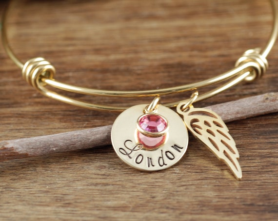 Personalized Memorial Bracelet, Angel Wing Bracelet, Sympathy Bracelet, Mother's Day Gift, Memorial Jewelry, In Memory of Mom Dad